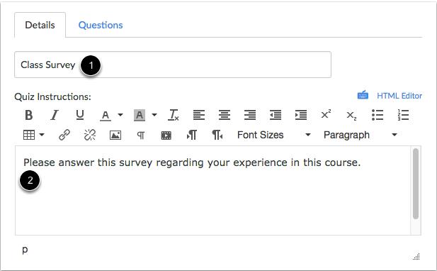 Crear información para la encuesta