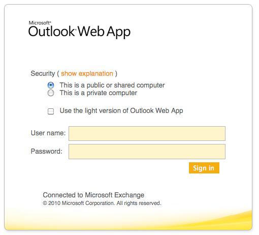 Open Outlook of Login op de Microsoft Exchange Outlook Web App
