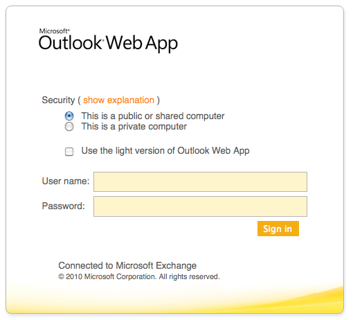 Open Outlook of Login op de Microsoft Exchange Outlook Web App
