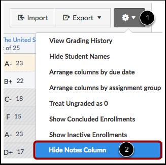 Hide Notes Column
