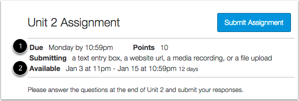 View Assignment with Availability Dates