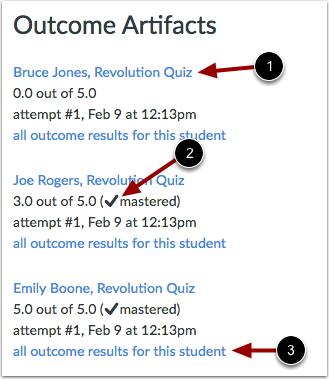 View Outcome Artifacts