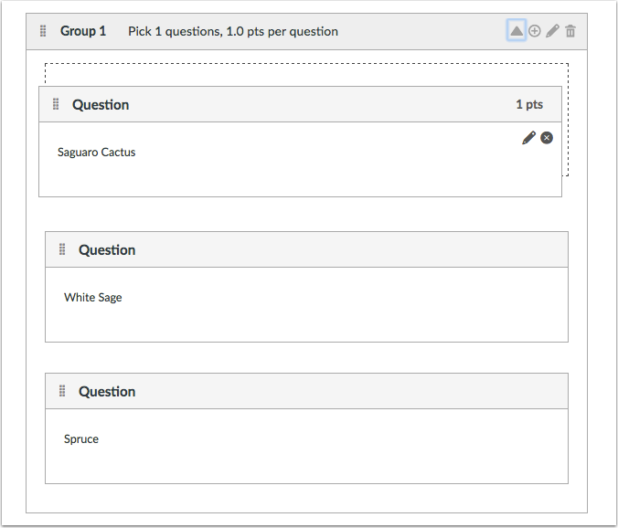 Drag Question into Question Group