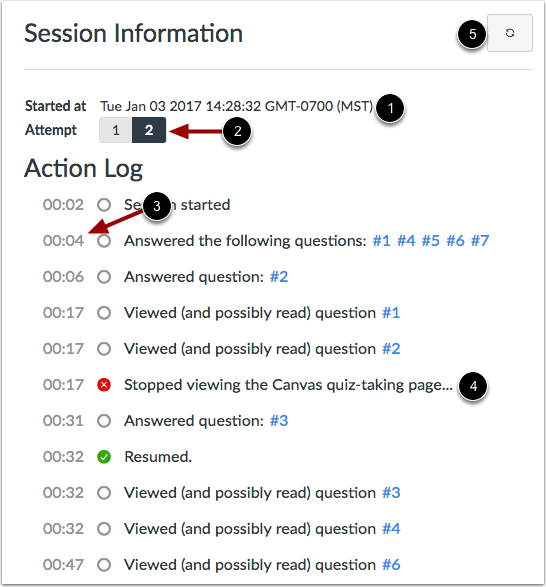 View Session Information and Action Log