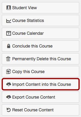 Importeer inhoud aan deze cursus
