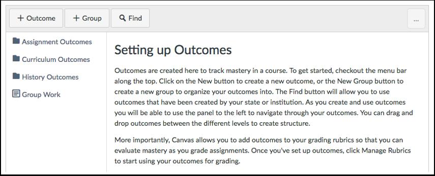 Select Outcome or Outcome Group