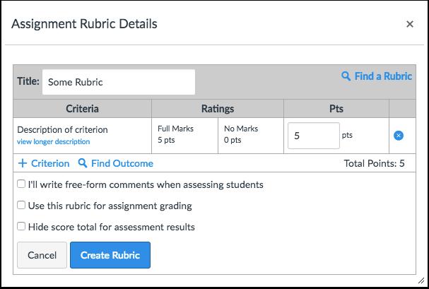 Create New Rubric