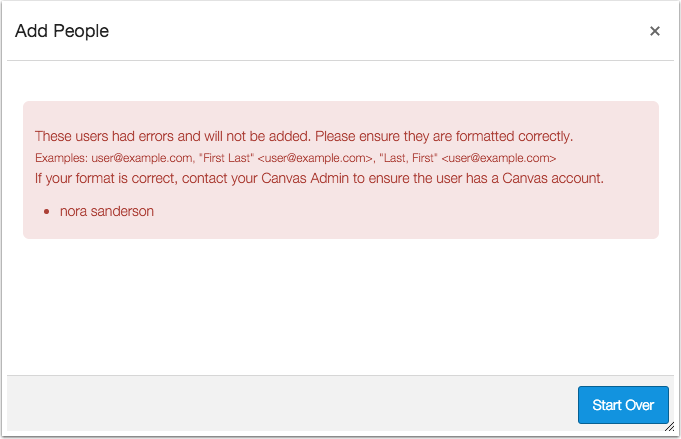 User Registration Error Message