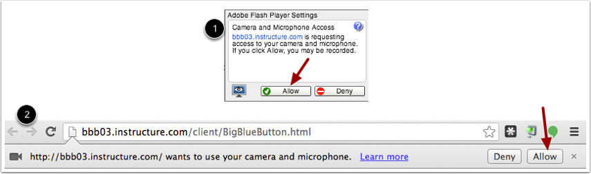 Chrome Media Permissions Allow Adobe Flash for web cams