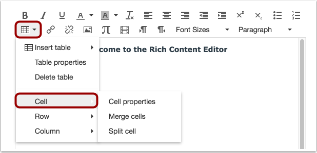 Edit Cell Options