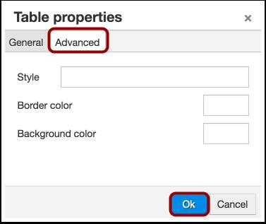 Edit Advanced Table Properties