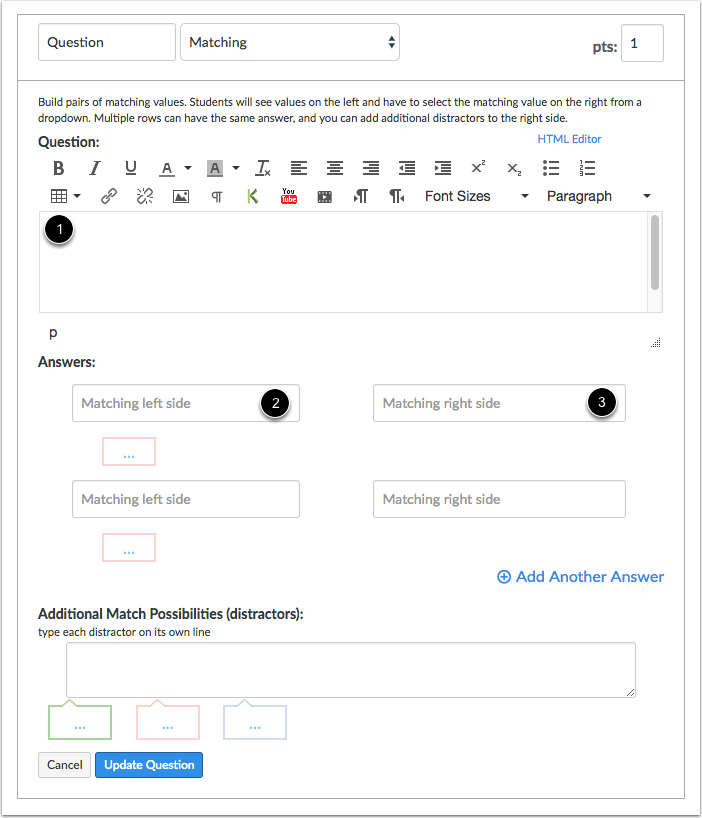 Enter Matching Question Details
