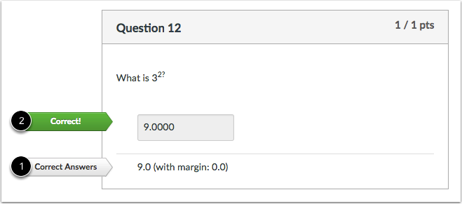 Student View for Numerical Answer Correct Answer