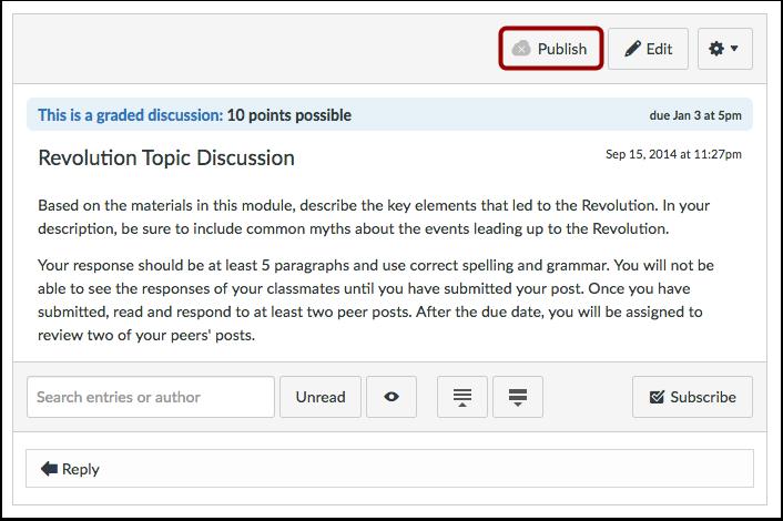 Publish Discussion