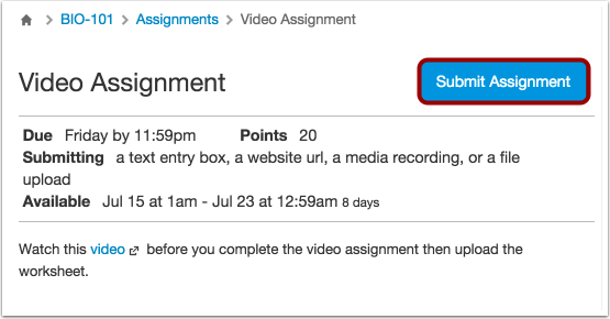 Submit Your Assignments txt: Student Introduction to Canvas