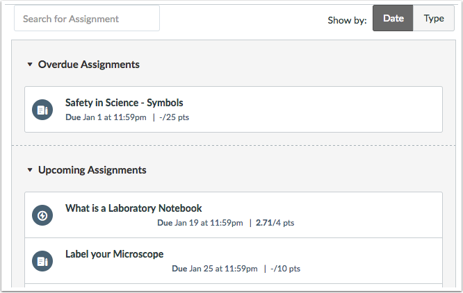View Assignment List