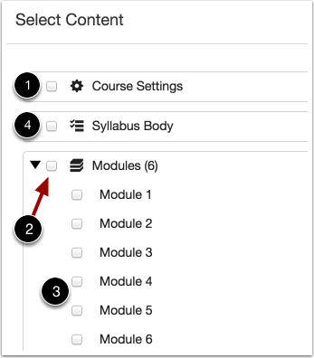 Selecting content to import to courses