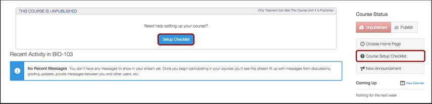 Open Course Setup Checklist