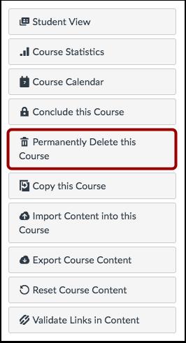 Permanently Delete Course