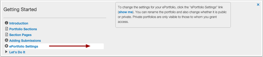 View ePortfolio Settings