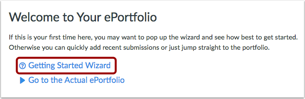 Open Getting Started Wizard