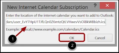 Paste Calendar Feed Link