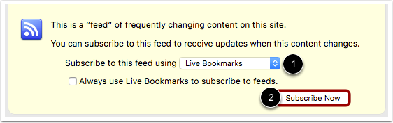Subscribe to Announcements through Live Bookmarks (Firefox)