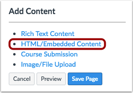 Add HTML/Embedded Content Box