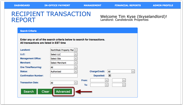 Detailed Transaction Report Search