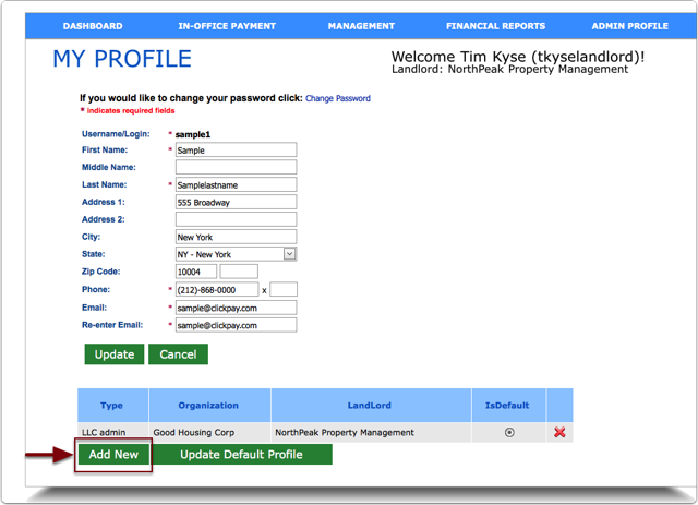 Adding additional LLC's to a user account