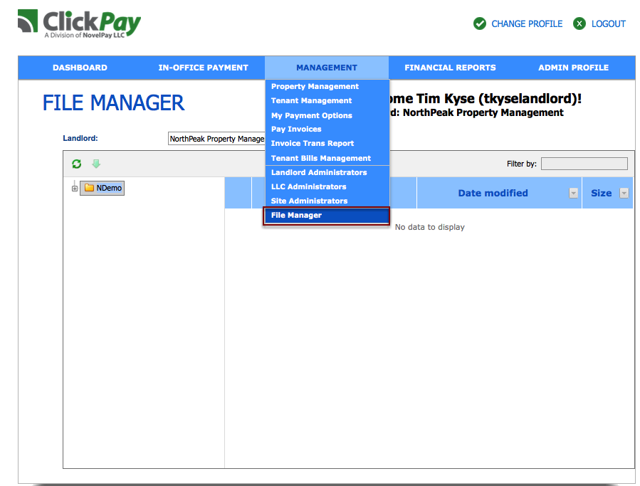 You can access file manager under the Management Tab