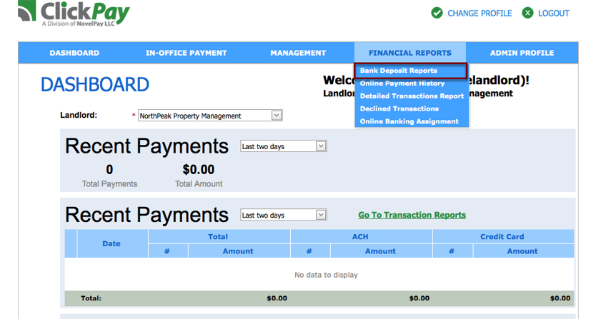 Step 1: You can select bank deposit reports under financial reports