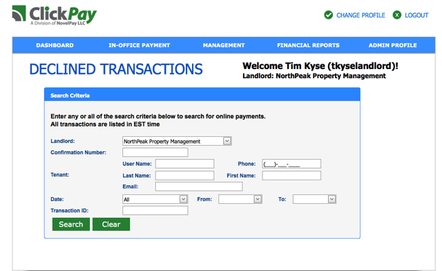 How to use the Declined Transactions Report – Client Support