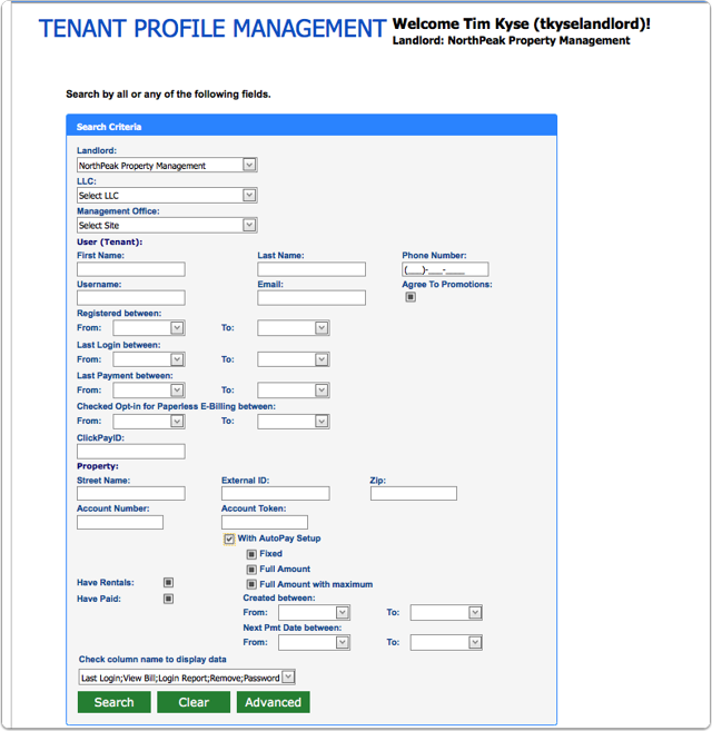 To find a particular tenant, please click advance and enter your search criteria