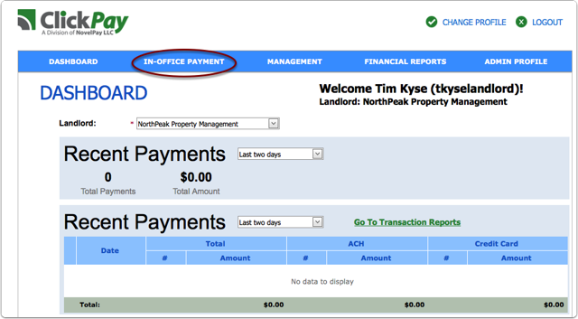 Step 1: Select in Office Payments from your dashboard