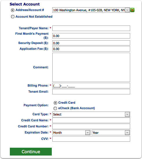 Step 3: Enter the payment info and press continue