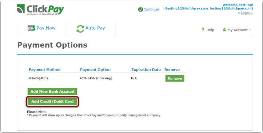 """Step 1: Select 'Payment Options' in 'My account' then """"Add New Credit Card/Debit Card"""""""