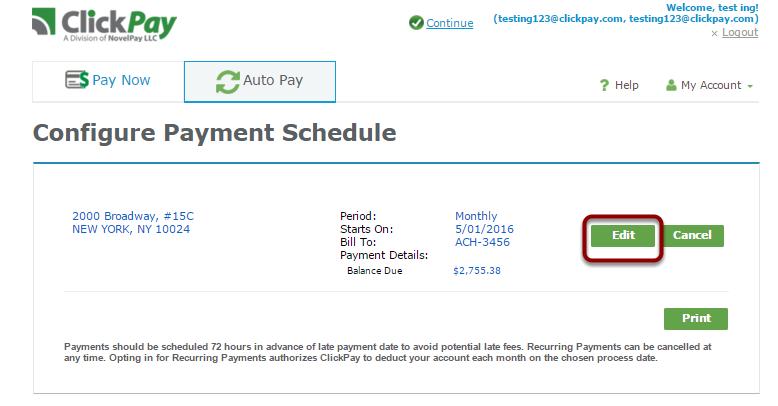 Edit your auto payment