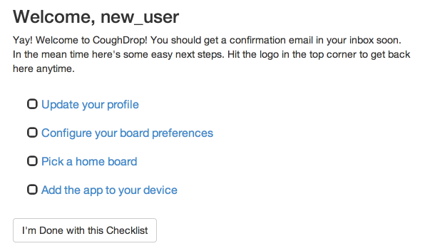 New User Checklist