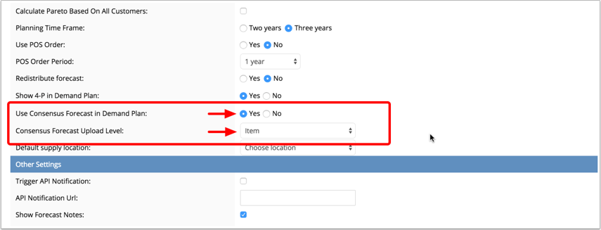 Enable Consensus Forecast in System Settings