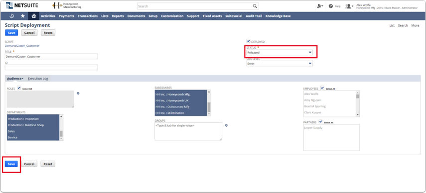 In Script Deployment view change status to Released. In Audience subtab choose everything and click Save