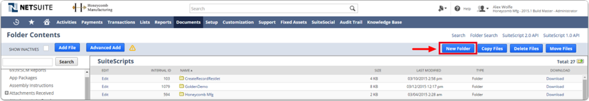 Create new folder in SuiteScripts click Create Folder Button
