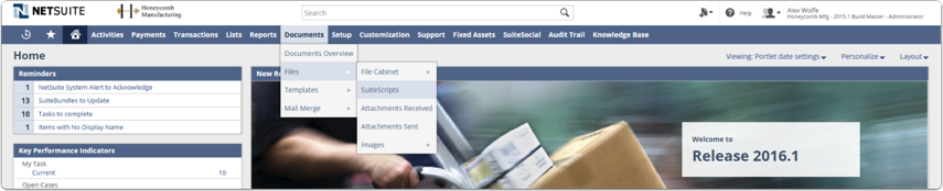 Navigate to Documents→ Files→ Suitescripts as shown below