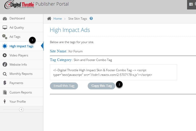4. Copy your high impact tag out of Portal to Place on your page