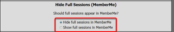 Hide Full Sessions (MemberMe)