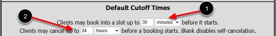 Default Cutoff Times