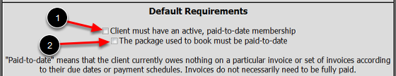 Default Booking Requirements