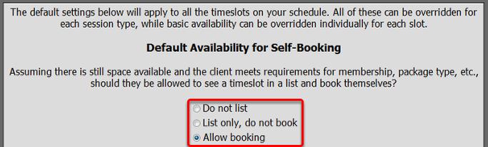 Default Availability
