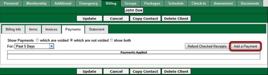 Taking the payment through the Billing - Payments page