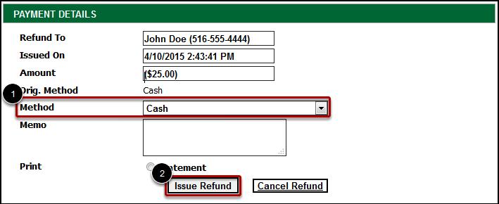 Refund Method